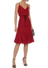 Milly Woman Tiffany Polka-dot Silk Crepe De Chine Dress Red