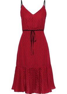 Milly Woman Tiffany Polka-dot Silk Crepe De Chine Dress Red