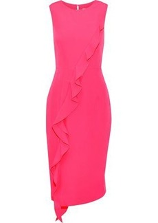 Milly Woman Tilly Ruffled Stretch-cady Dress Bright Pink