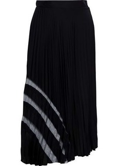 Milly Woman Tulle-trimmed Pleated Stretch-silk Midi Skirt Black
