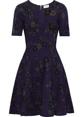 Milly Woman Twilight Flared Jacquard-knit Mini Dress Indigo