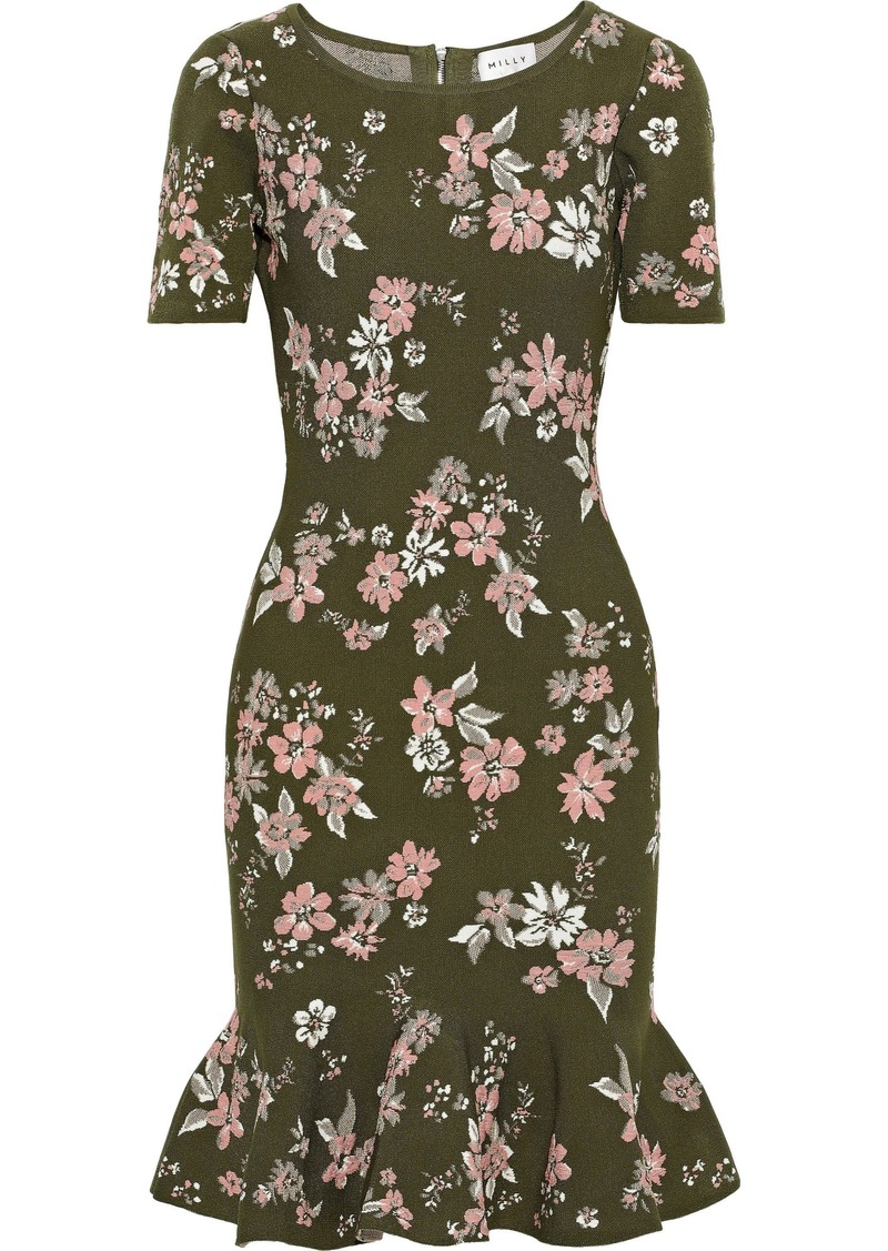 Milly Woman Fluted Floral-jacquard Dress Army Green