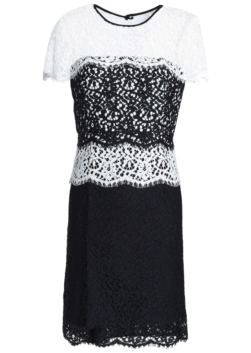 Milly Woman Two-tone Corded Lace Mini Dress White