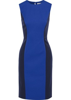 Milly Woman Two-tone Stretch-crepe Dress Cobalt Blue