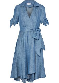 Milly Woman Valerie Linen-blend Chambray Wrap Dress Light Denim