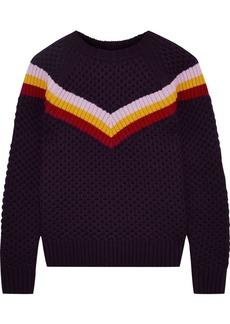 Milly Woman Varsity Stripe Merino Wool Sweater Dark Purple