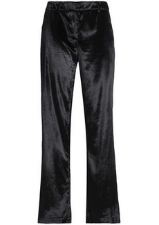 Milly Woman Velvet Straight-leg Pants Black