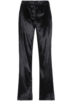 Milly Woman Velvet Straight-leg Pants Black
