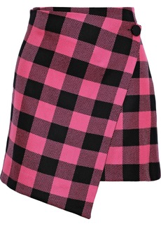 Milly Woman Wrap-effect Checked Wool-twill Mini Skirt Pink