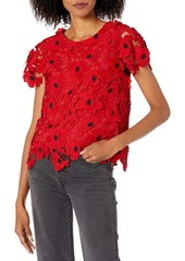 MILLY Women's 3D Poppy Floral Lace Baby Tee  S