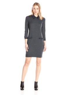 Milly Women's Beaded Tuxedo Collar Sweater Dress