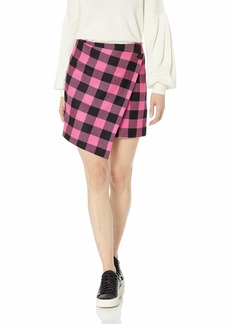 MILLY Women's Buffalo Check Print Wrap Mini Skirt