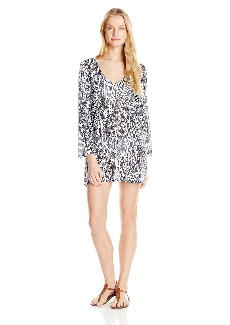 MILLY Women's Chain Print Buzios V-Neck Italian Jersey Cover-Up Tunic