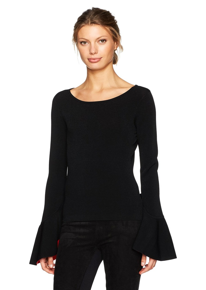 MILLY Women's Contrast Draped SLV Pullover  M
