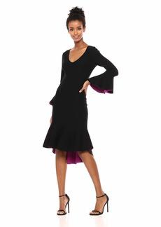 MILLY Women's Contrast Knit V-Neck Draped Long Sleeve Mermaid Hem Dress  M