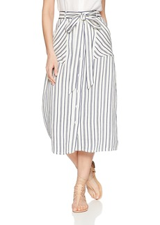 MILLY Women's Cotton Linen Stripe a-Line Hope Skirt