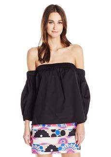 MILLY Women's Cotton Poplin Off The Shoulder Blouse  M