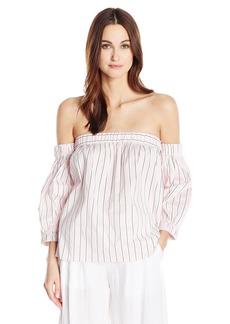 MILLY Women's Cotton Silk Stripe Off The Shoulder Blouse  M