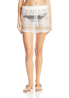 MILLY Women's Crochet Gathered Cover up Shorts
