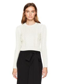 MILLY Women's Cropped Aran Stitch Sweater  L