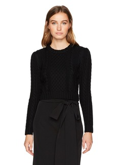 MILLY Women's Cropped Aran Stitch Sweater  M