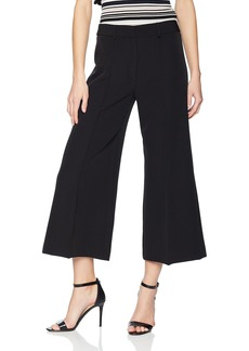 MILLY Women's Cropped Hayden Wide Leg Pintuck Trousers