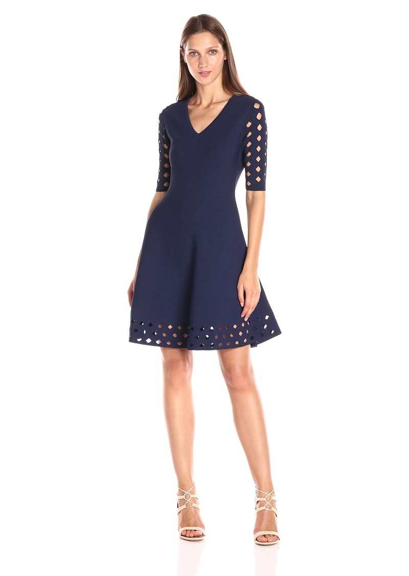 MILLY Women's Diamond Pointelle Flare Dress  P