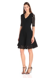 MILLY Women's Diamond Pointelle Flare Dress  S