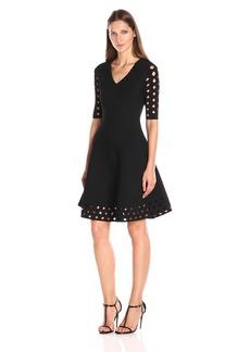MILLY Women's Diamond Pointelle Flare Dress  S