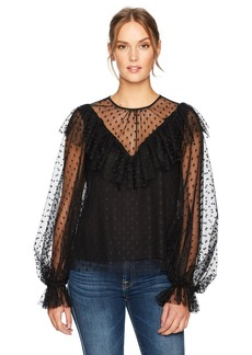 MILLY Women's Dot Tulle Victorian Top  L