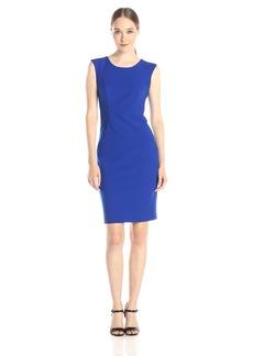 Milly Women's Doubleweave Tech Modern Midi Sleeveless Sheath Dress