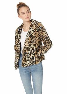 MILLY Women's  Faux Fur Drape Front Cole Jacket L