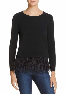 MILLY Women's Feather Trim Sweater  L