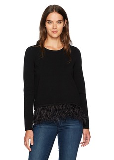 MILLY Women's Feather Trim Sweater  S