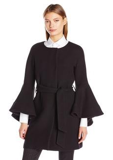 MILLY Women's Flare Sleeve Tie Coat  L