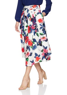 MILLY Women's Floral Print on Cotton Fiona Midi Skirt with Front Buttons