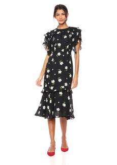 MILLY Women's Floral Print on Georgette Short Gia Dress