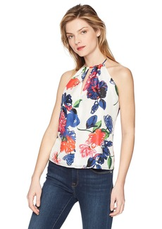 MILLY Women's Floral Print on Silk Deep V-Neck Reese Tank Top  S