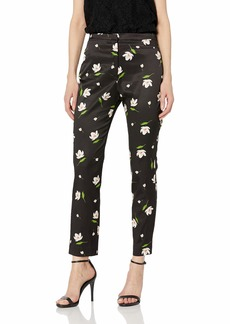 MILLY Women's Floral Print on Stretch Viscose High Waist Pant