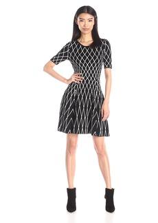Milly Women's Geometric Short Sleeve Sweater Dress