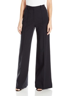 MILLY Women's Hayden Wide Leg Pintuck Trousers Black Twill