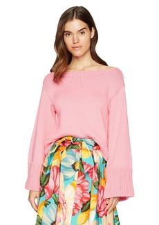 MILLY Women's Italian Cropped Flare Sleeve Sweater  P