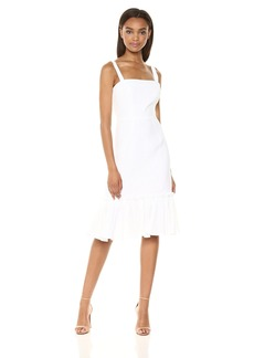 MILLY Women's Italian Linen Kerry Spaghetti Strap Dress with Ruffle Hem