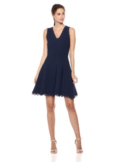 MILLY Women's Knit Eyelet Scallop Fit and Flare Dress  S