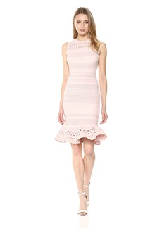 MILLY Women's Knit Lace Cutout Mini Mermaid Dress  L