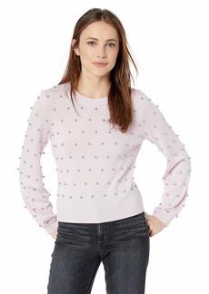 MILLY Women's Knit Long Pouf Sleeve Crew Neck Pearl Sweater  M