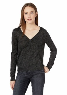 MILLY Women's Knit Long Sleeve Shimmer Twist Front Pullover  M