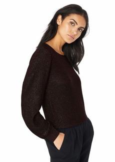 MILLY Women's Knit Shimmer Metallic Long Sleeve Dolman Pullover  S
