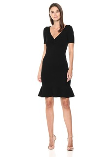 MILLY Women's Knit Shirred V-Neck Short Sleeve Dress with Flared Hem  L