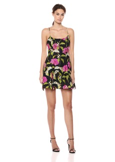 MILLY Women's Large Calla Lily Printed on Chiffon Alanis Mini Dress